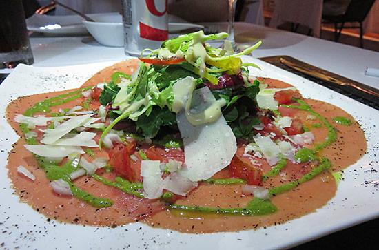 beef carpaccio at la villa restaurant