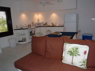 Anguilla Hotel, Blue Waters, kitchen, living room
