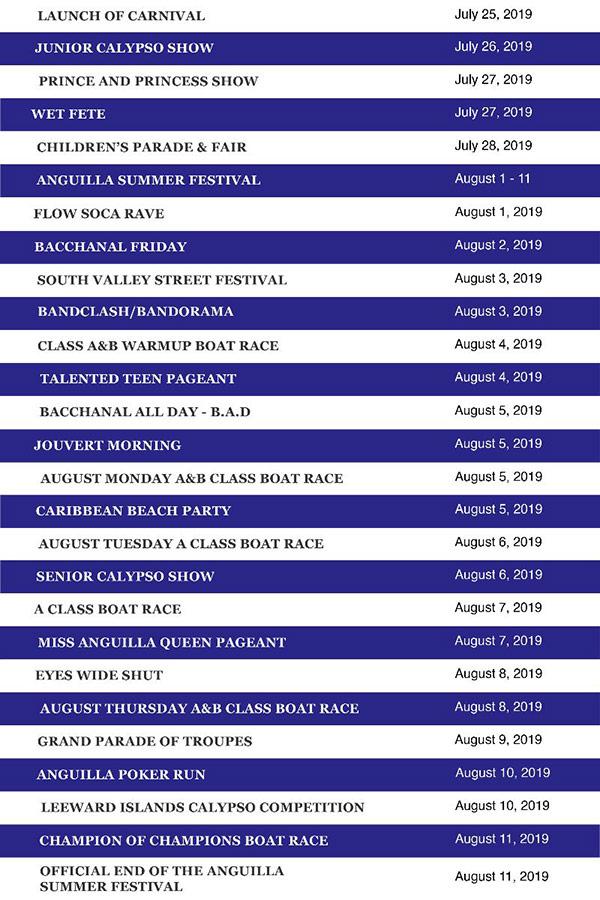 Anguilla Events, Music & Nightlife