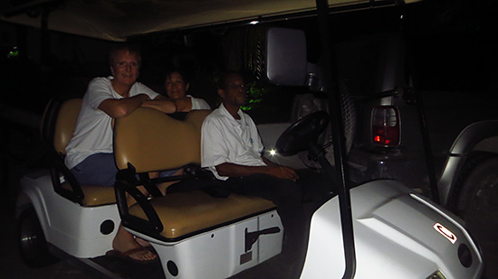 golf cart back up to the villa