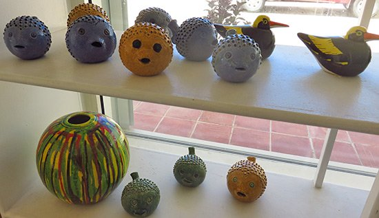 ceramic puffer fish and vases by devonish
