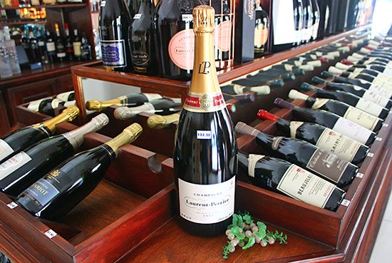 selection of champagnes at grands vins de france