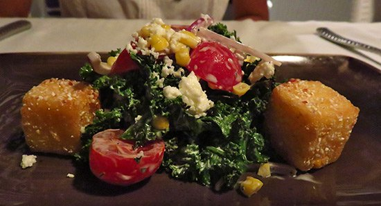 grilled kale salad with crispy corn appetizer at malliouhana