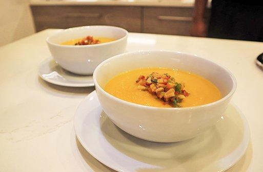 Pumpkin Soup & Corn Salsa