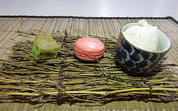 chef ken lin tasting menu dessert of green tea cake, rum punch and sesame ice cream