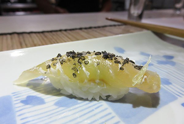kingfish sushi with black sea salt in anguilla