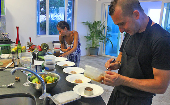 marc forgione preparing dinner inside tequila sunrise villa