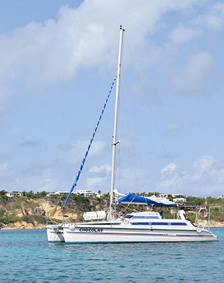 chocolat catamaran in sandy ground