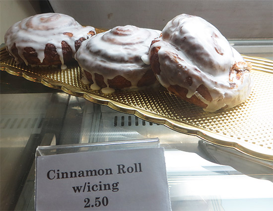 cinnamon roll with icing at gerauds