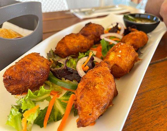 Cod fish fritters at La Playa Restaurant & Bar
