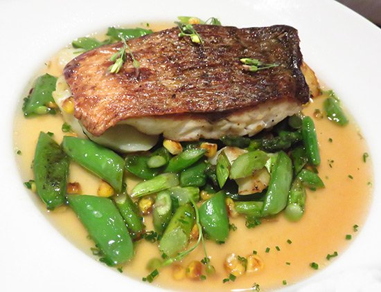 covecastles special entree of wild striped bass with roast corn and asparagus ragout