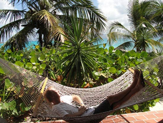 dad in hammock at covecastles