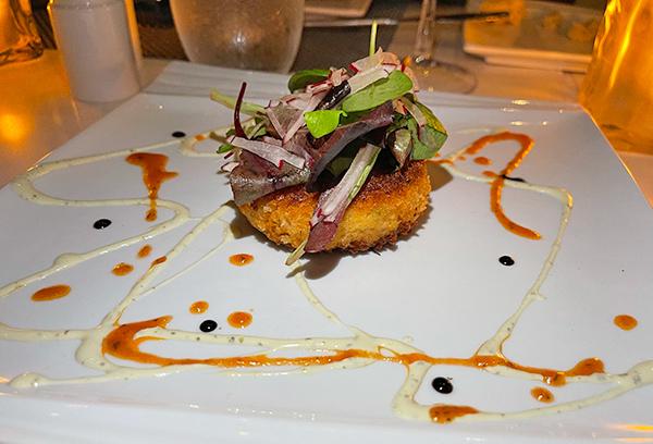 Crab cake at SALT Restaurant & Bar at The Morgan Resort & Spa