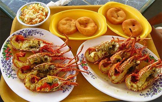 anguilla johnnycake and crayfish, a tasty dish prepared by Nat at Palm Grove