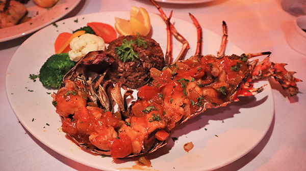 Grilled Anguillian Lobster in Creole Sauce at Barrel Stay Sandy Ground