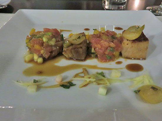 tuna tartare appetizer with pork belly at de cuisine