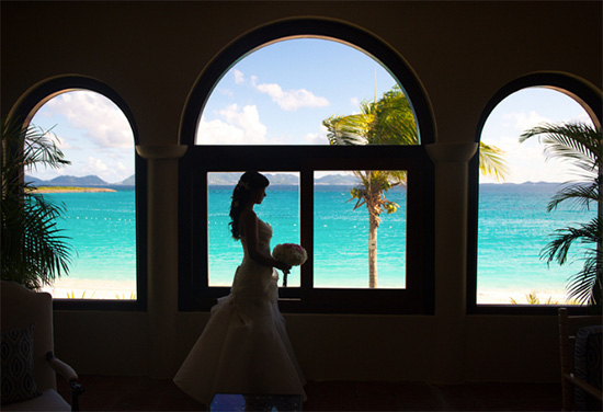 bride and groom on the beach at anguilla wedding
