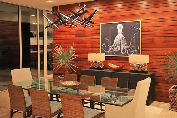 Dining area at night time