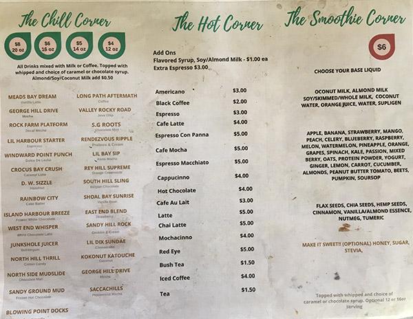 cafe 264 smoothie menu