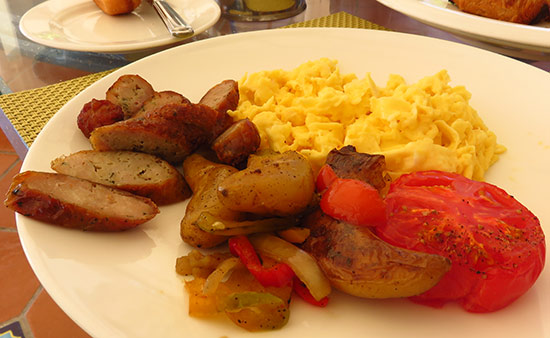 eggs and sausage for breakfast at cuisinart