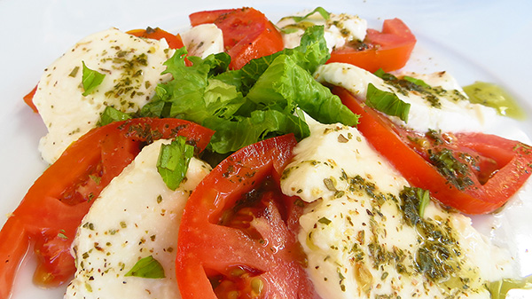 caprese salad at elite