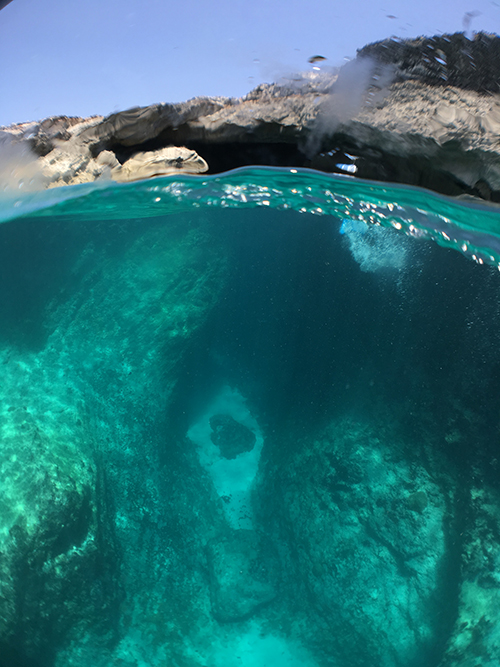 Underwater photo of the cave entrance at scrub island