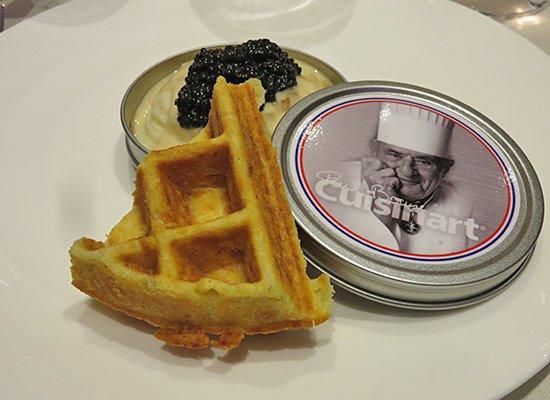 whipped potato with caviar and potato waffle at epicurea
