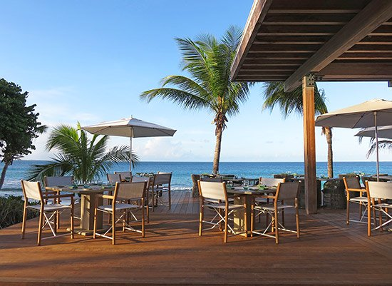 expanded seating at four seasons anguilla bamboo bar and grill restaurant