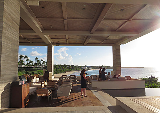 close up look at the expanded seating at sunset lounge four seasons anguilla