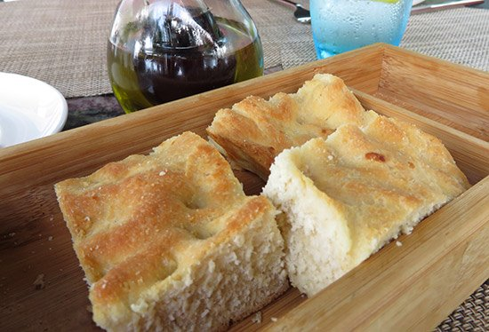 focaccia bread at zemi beach house