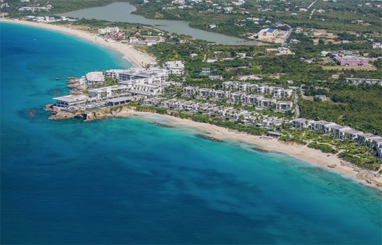 four seasons on meads bay as seen from anguilla helicopter tour