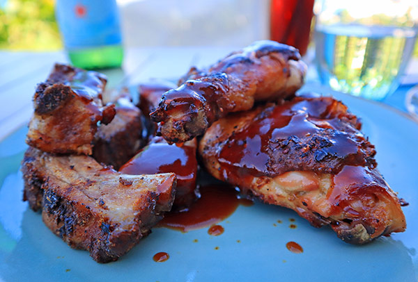 chicken and ribs bbq at four seasons bamboo bar and grill
