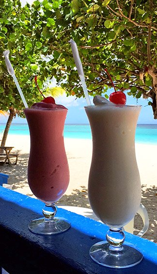 frosty drinks at tropical sunset