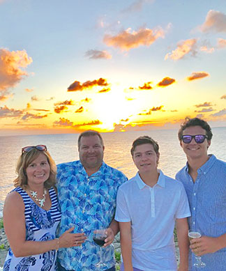 garner family enjoying an anguilla sunset