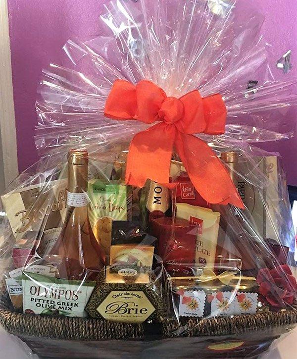 gourmet gift basket at gift box
