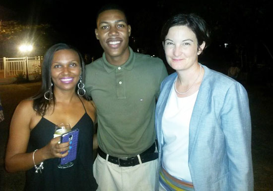 Governor Christina Scott with kareen carty and zharnel hughes