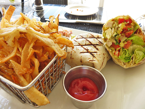 Grilled Chicken Breast Tortila Wrap and Straw Hat fries