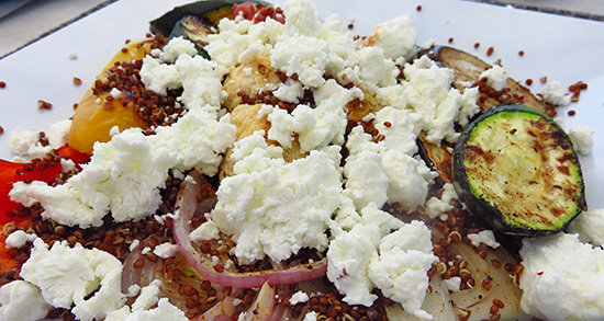 grilled veggies with goat cheese