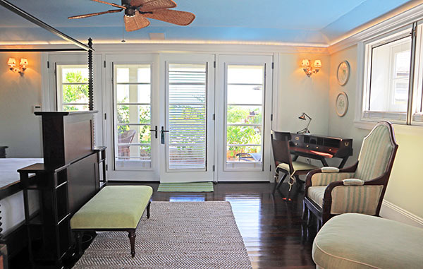 Main floor bedroom in guest house Ananda at Santosha Villa Estate on Long Bay
