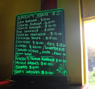 gwens reggae grill lunch menu