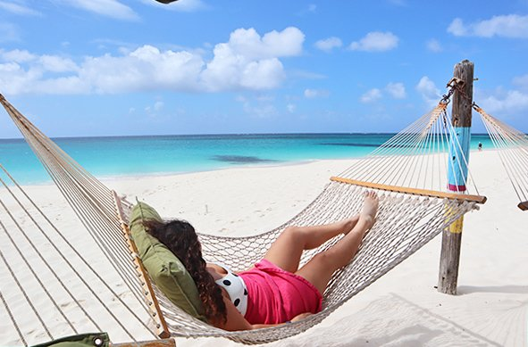 Louise Enjoying The Gentle Breeze on the Hammock at gwens