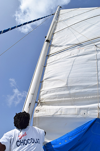 deon hoisting the main sail