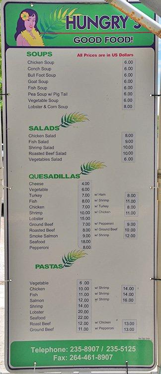 menu at the Hungrys Good food van, anguilla