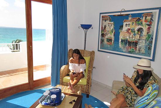 enjoying deluxe junior suite living area