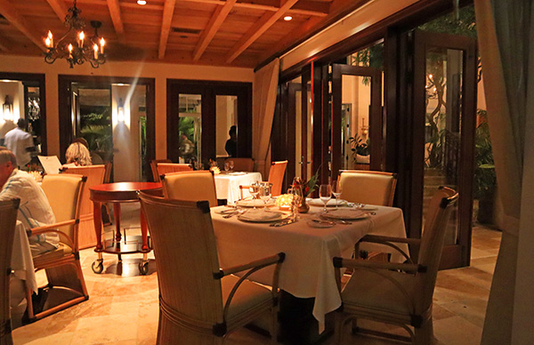 interior dining area at julians at quintessence
