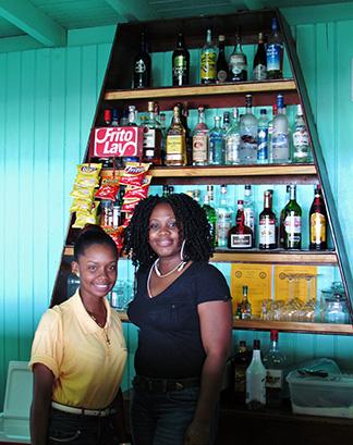 kathrin and fayola of elodias beach bar and restaurant