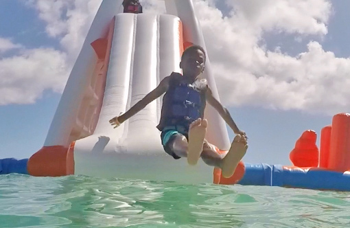 kids having fun at anguilla aqua park