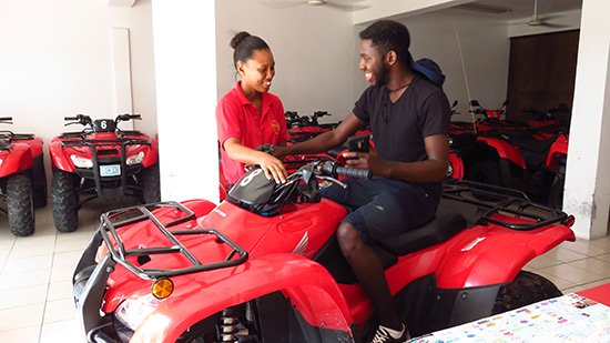 angella showing kirmani the atvs