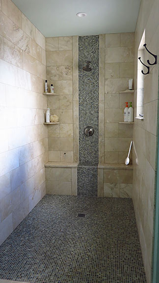 walk in shower in master suite