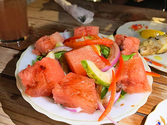 fresh watermelon salad at lime keel house